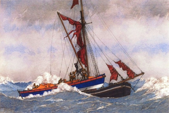 The Cromer Watson Class Motor Lifeboat H.F. Bailey depicted by the late John during her daring and unorthodox rescue of the  Gardnerduring