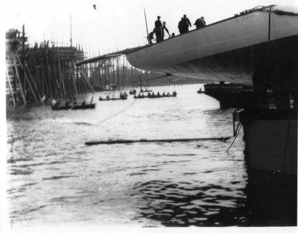 Shamrock II immediately after launching at Dumbarton 20 April 1901