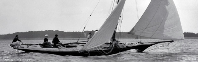 Grace Schenley at the helm of Valentine, Solent, 1890 photo@BEKEN