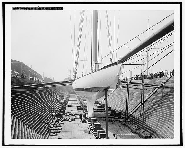 William Fife's 1903 Amerca's Cup challenger showing her nickel steel plates in Erie Basin. Library of Congress
