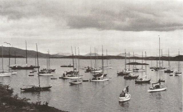 The 1968 Tobermory Race fleet at Crinan. George Gibb, CCC Journal, 1969