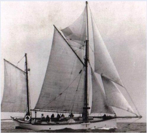 The gaff ketch Nell, designed by G.L. watson and built by Thomas Orr Jr, 1887,full and by