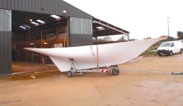 A brief glimpse of daylight for the new Hubert Stagnol built Watson - minus lead keel. (Yachting Classique)