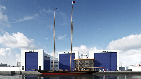 A rendering of Rainbow II at the new Holland Jachtbouw shipyard extension. (www.asiapacificyachting.com)