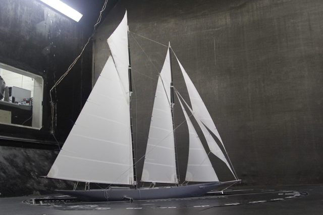 """Classic Schooner project"" undergoing wind tunnel tests at North Sails New Zealand (North Sails New Zealand)"