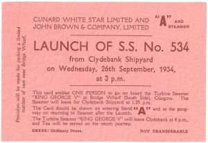 A ticket to attend the launch (UCS1/107/116)