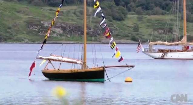 Ayrshire Lass, designed William Fife Sr,1887, dressed overall in the Kyles of Bute during The Fife Regatta, July 2013. (CNN Mainsail)